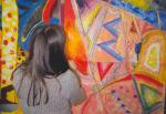 Education Workshop; Year 8 student working on a large �abstract� painting. This may not appear to be representational, but is in fact derived from a small observational drawing of part of a large sculpture that was itself, a �real object� � but not �about anything�, other than what it was � a piece of sculpture made from a variety of materials.