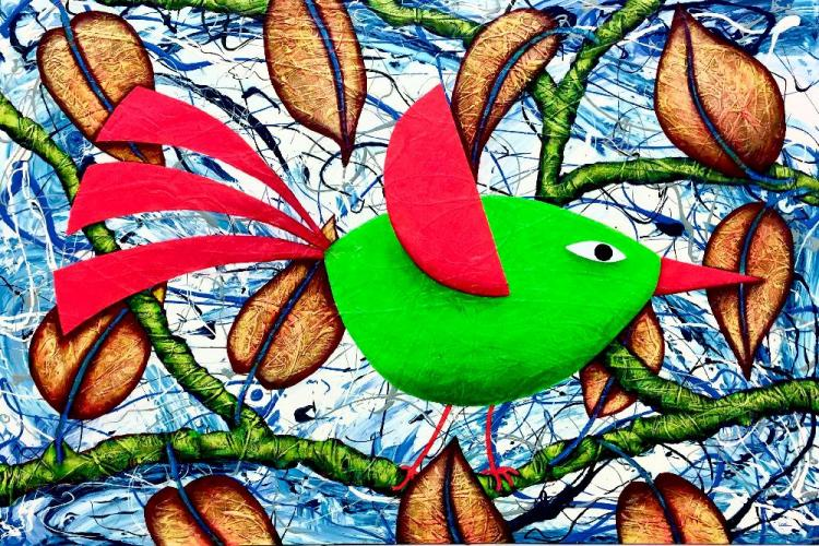 QUIRKY GREEN BIRD © Unframed size 122 x 81cm, lots of layering, on textured board, wax-finished. #design #interiordesign ‬#StatementPiece