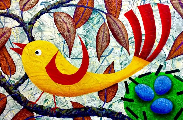 TWEET-TWEET ! © Very large quirky #bird painting on board. Wax finished. Unframed 122 x 81cm.